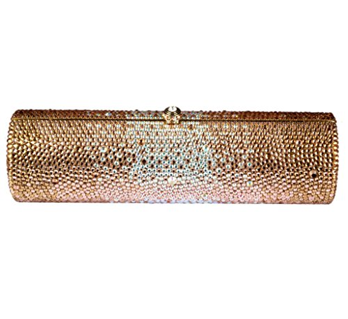 Abless Fashion Full Bling Rhinestone Cylindrical Shaped Luxurious Clutch Evening Handbag – Gold