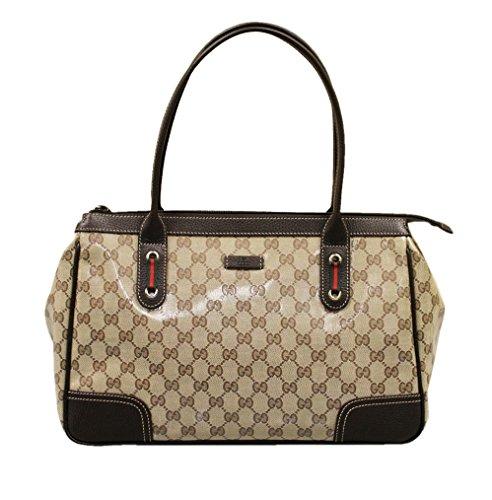Gucci Brown Medium Crystal Canvas Handbag Tote Bag 293599