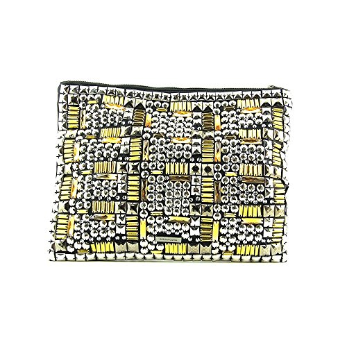 BCBG Metallic Studded Foldover Evening Bag