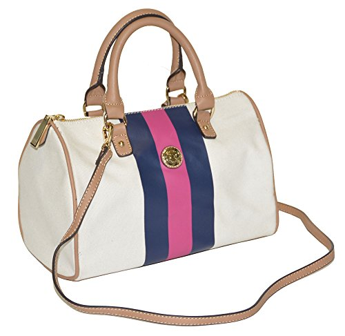 Tommy Hilfiger Women Canvas Stripe Convertible Satchel