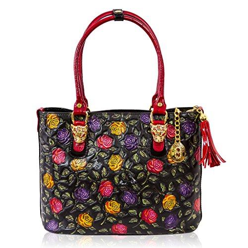 Marino Orlandi Italian Designer Handpainted Red Roses Leather Large Tote Bag
