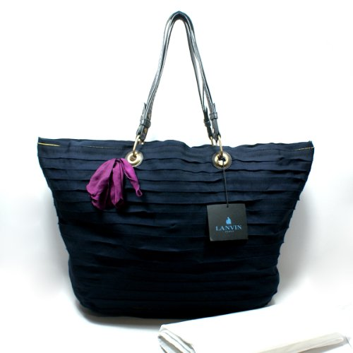 Lanvin Shopping Bag in Gros Grain Ribbon/ Shoulder Bag (Blue) (MSRP $1,790.00) #AW0CAAGRGP5A