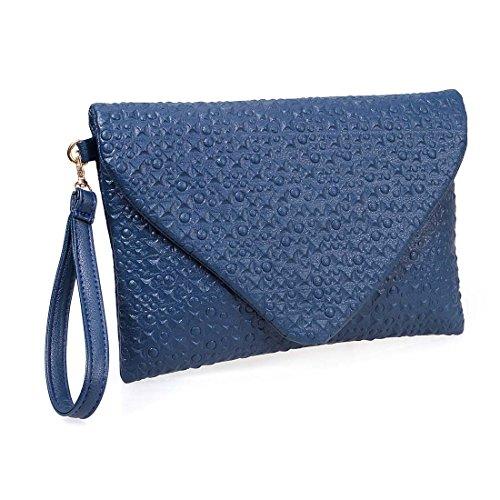 BMC Unique Faux Leather Envelope Style Studded Square Circle Fashion Clutch