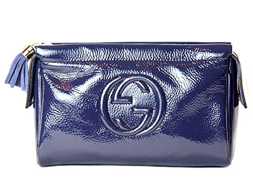 Gucci GG Interlocking Patent Leather in Navy Blue Clutch Purse Bag