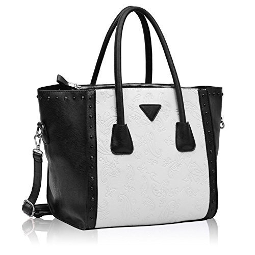 KCMODE Womens Designer Black White Handbag Studded Tote Bag Shoulder Bag