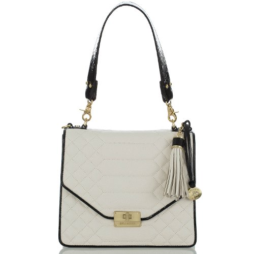 NEW AUTHENTIC BRAHMIN OPHELIA CONVERTIBLE SHOULDER TOTE (Creme Florentine Quilted Leather)
