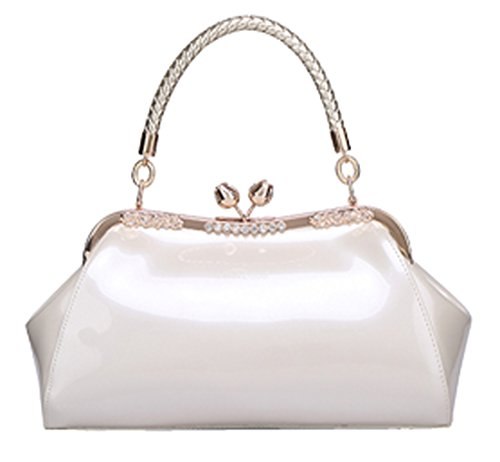 Heshe® New Ladies' Pu Leather Simple Summer Style Fashion Tote Top Handle Shoulder Bag Wedding Package Candy Color Purse Handbag for Women