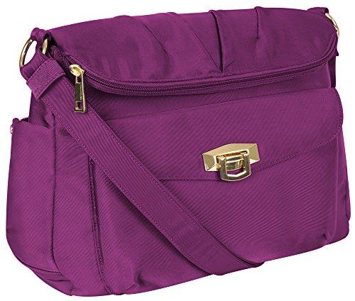 Travelon Pleated Flapover Bag Fuchsia