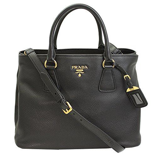 Prada Women's Black Leather Tote Bag W/strap Bn2794