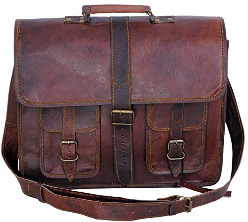 Komal's Passion Leather Leather 18 Inch Messenger Laptop Shoulder Briefcase College Office Bag