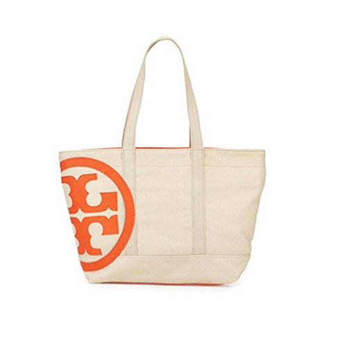 Tory Burch Tote Beach Small Zip Tote Authentic New Bag Natural Blood Orange
