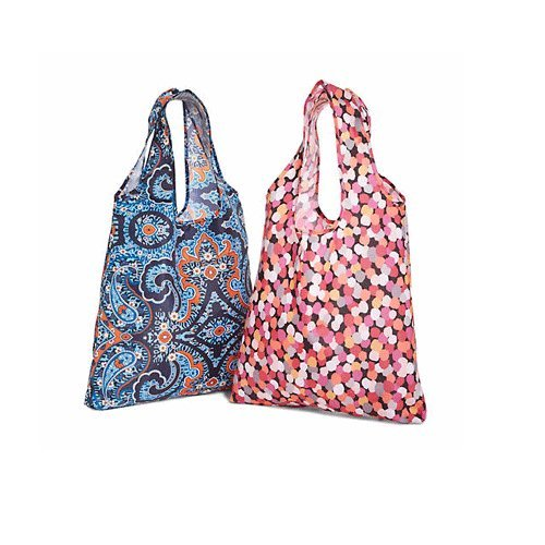 Limited Edition Vera Bradley 2 Packable Shopper Totes in Pixie Confetti & Marrakesh