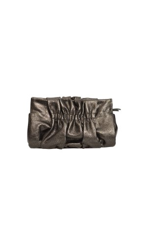 Henri Bendel Leather Ruched Mini Handbag Clutch Purse