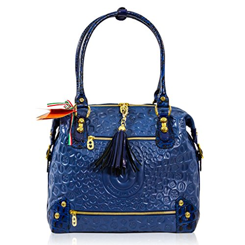 Marino Orlandi Italian Designer Blue Sun Ray Monogram Leather Large Satchel Bag