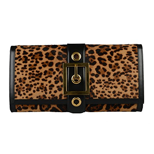 Gucci Women's Leopard Print Pony Hair Leather Clutch Handbag Bag