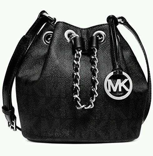 NEW AUTHENTIC MICHAEL KORS FRANKIE SMALL MINI LEATHER DRAWSTRING CROSSBODY BAG (Black)