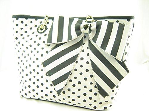 Betsey Johnson Large Bow-Tas-Tic Tote Handbag Ivory Black Multi