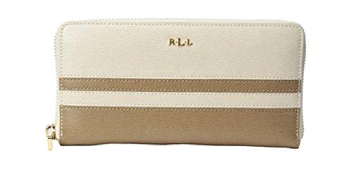 Lauren Ralph Lauren Tate Stripes Zip Wallet Clutch Purse Evening Bag Handbag (White)