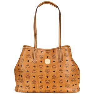 MCM Medium Visetos Collection Reversible Shopper Cognac Brown New