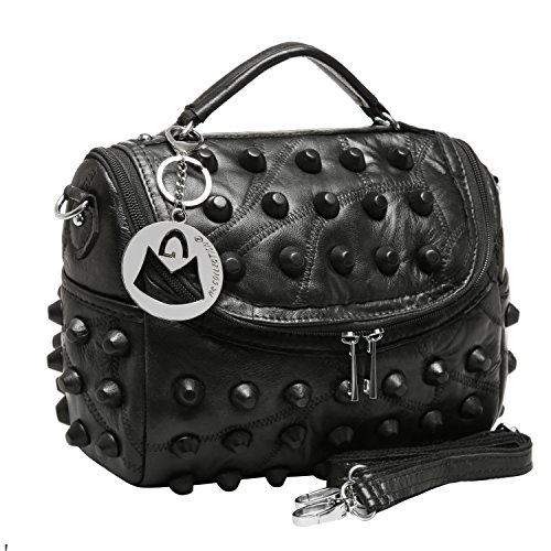 MG Collection HEDY Black Lambskin Studded Small Tote Purse Style Shoulder Bag