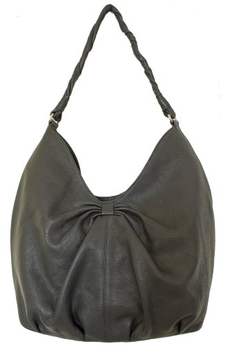 Otranto Women Designer Genuine Leather Black Large Hobo Shoulder Handbag