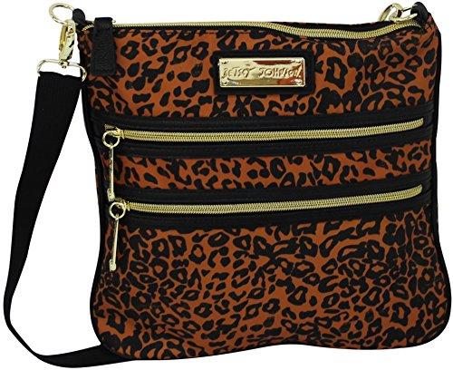 Betsey Johnson 2 Zip Crossbody Handbag Purse Animal Cheetah Print