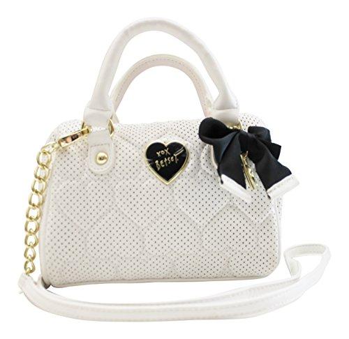 Betsey Johnson Mini Barrel Crossbody Handbag – Be Mine Bone Quilted Pierced Heart