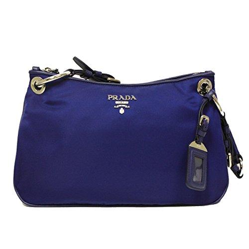 Prada BR4894 Royal Blue Tessuto Soft Calf Leather and Nylon Shoulder Bag