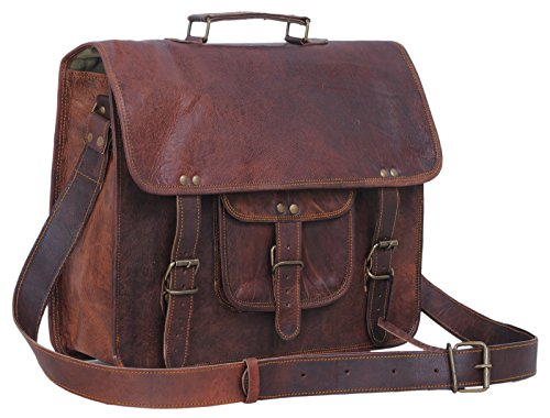 Komal's Passion Leather 14 Inch Rugged Leather Laptop Messenger Bag Briefcase Satchel
