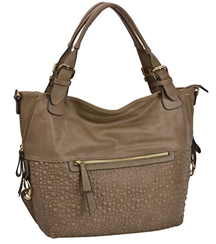 MG Collection JADE Oversize Fashion Stud Embossed Slouchy Hobo Shoulder Handbag