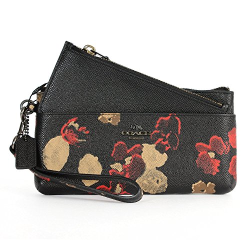 Coach 52404 Floral Print Leather Zippy Wallet with Pop-up Pouch