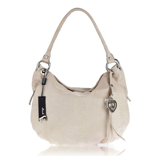JENRIGO Italian Made Python Embossed Light Beige Leather Designer Hobo Bag