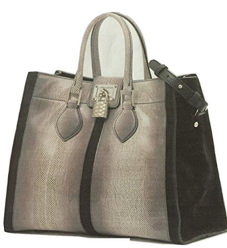 Roberto Cavalli Grey and Black Karung Snake Leather Bag