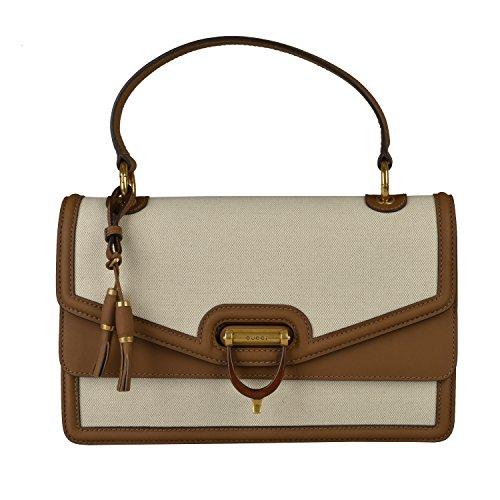 Gucci Women's Beige Leather Trimmed Satchel Handbag Bag
