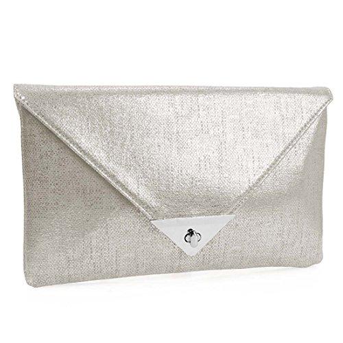BMC Womens Shiny PU Synthetic Material Envelope Flap Clutch Fashion Handbag