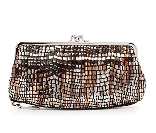 Hobo International Millie Wallet Clutch in Brown Metallic Mosaic