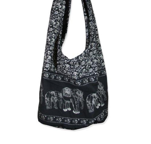 Thai Monk Cotton Elephant Sling Crossbody Messenger Bag Shlouder Purse Hippie Hobo Color Black