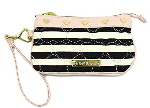 Betsey Johnson Black/Bone Quilted Heart Wristlet