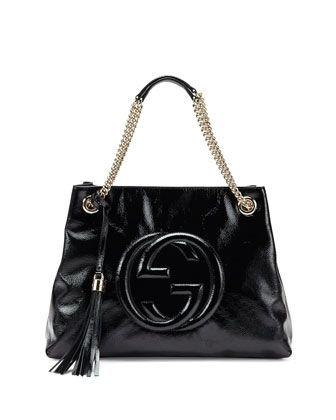 Gucci Soho Patent Leather Shoulder Bag Black Gold New
