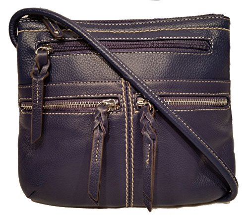 "Tignanello Triple Zip Crossbody ""Ink"" Blue Leather Handbag"