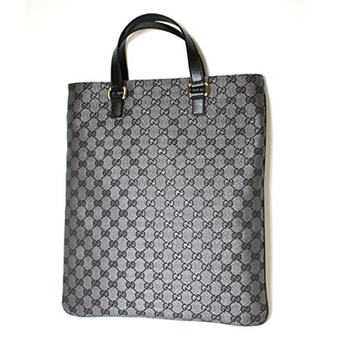 Gucci Black and Silver Metallic Portfolio Tote Handbag 272347