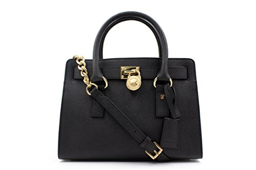 Michael Michael Kors New Edition Hamilton Black Saffiano Leather Satchel