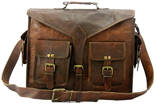 B & H Genuine Leather Messenger Bag 15″ Laptop Bag Leather Satchel Briefcase Bag ABB.