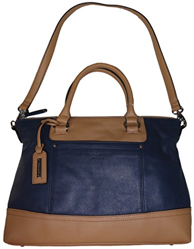Tignanello Womens Smooth Operator Convertible Leather Satchel Sailor Blue/Honey