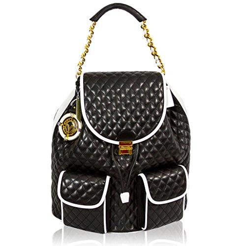 Valentino Orlandi Italian Designer Black Quilted Leather Purse Sling Backpack Bag