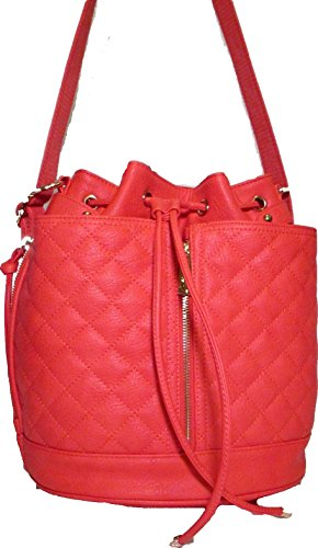 Steve Madden Bfluttr Drawstring Faux Leather Quilted Coral Bag Crossbody/Backpack