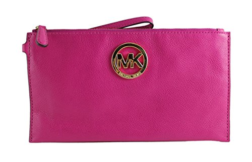 Michael Kors Fulton Large Fuchsia Pink Pebbled Leather Top Zip Clutch / Wristlet