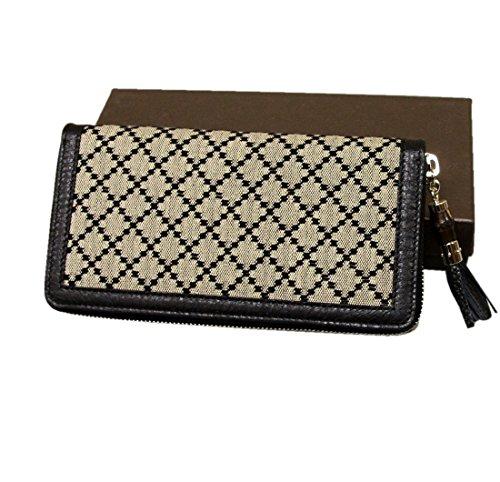 Gucci Women's Canvas Diamante Zip Around Wallet Clutch 224253