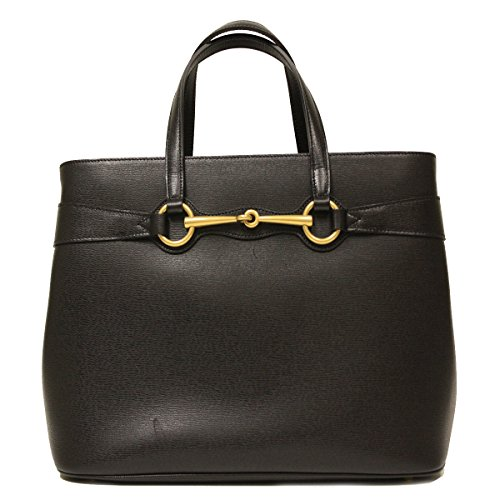 Gucci Horsebit Convertible Black Leather Top Handle Shoulder Tote Bag