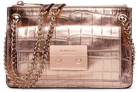 Michael Kors Small Sloan Metallic Rose Gold Crocodile Embossed Leather Flap Crossbody Evening Bag Handbag
